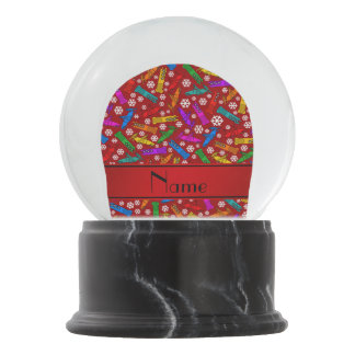 Personalized name red rainbow bobsleigh snowflakes snow globe