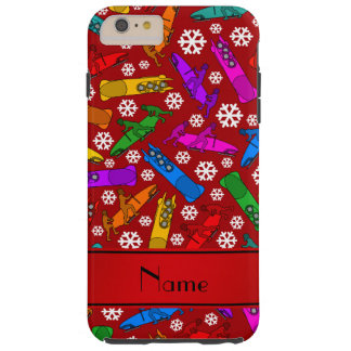 Personalized name red rainbow bobsleigh snowflakes tough iPhone 6 plus case