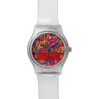 Personalized name red rainbow bobsleigh snowflakes watch