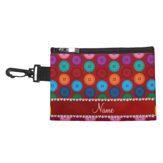 Personalized name red rainbow buttons pattern accessories bags