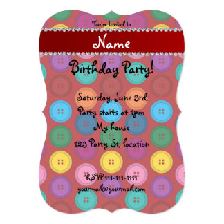 Personalized name red rainbow buttons pattern 5x7 paper invitation card