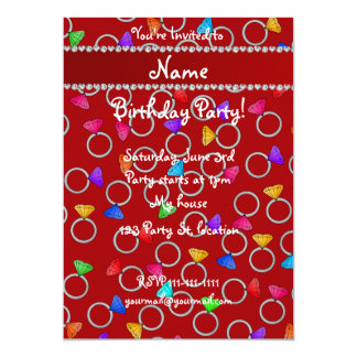 Personalized name red rainbow diamond ring 5x7 paper invitation card