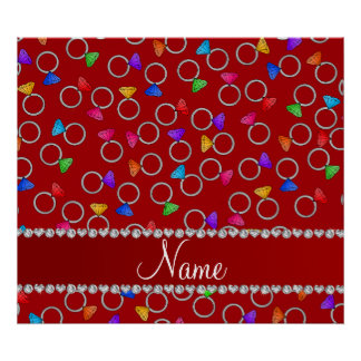 Personalized name red rainbow diamond ring poster