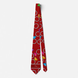Personalized name red rainbow diamond ring tie