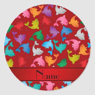 Personalized name red rainbow dolphins classic round sticker
