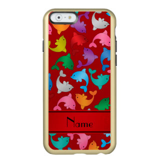 Personalized name red rainbow dolphins incipio feather shine iPhone 6 case