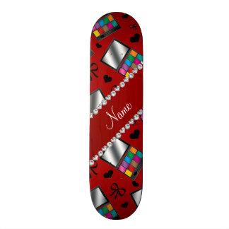 Personalized name red rainbow eyeshadow skate board