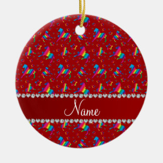 Personalized name red rainbow horses stars ceramic ornament