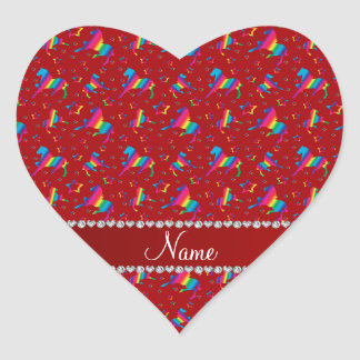 Personalized name red rainbow horses stars heart sticker