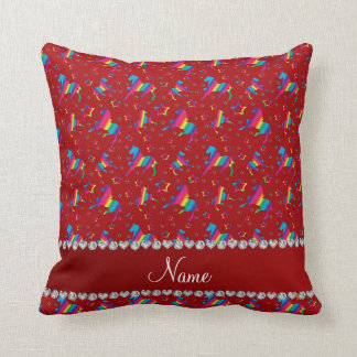 Personalized name red rainbow horses stars throw pillow