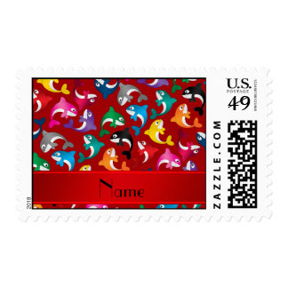 Personalized name red rainbow killer whales stamp