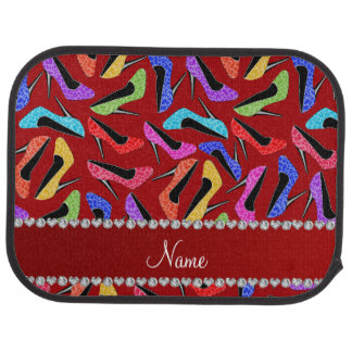 Personalized name red rainbow leopard high heels car mat