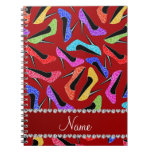 Personalized name red rainbow leopard high heels notebook