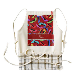 Personalized name red rainbow leopard high heels zazzle HEART apron