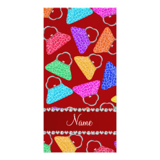 Personalized name red rainbow leopard purses photo card