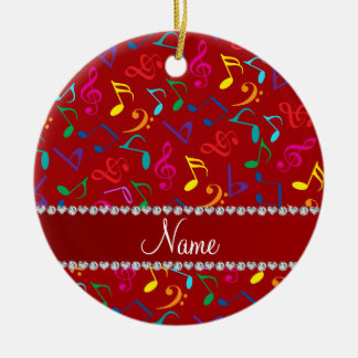 Personalized name red rainbow music notes ceramic ornament