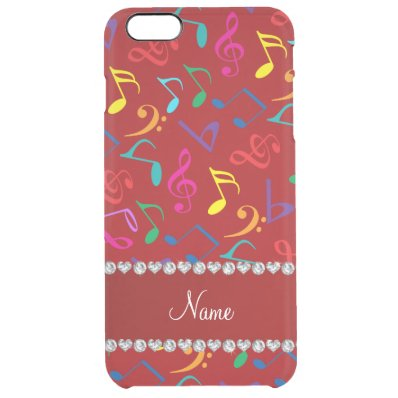 Personalized name red rainbow music notes clear iPhone 6 plus case
