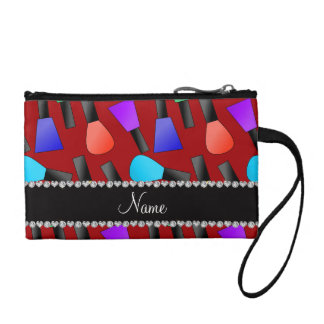Personalized name red rainbow nail polish coin purse