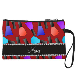 Personalized name red rainbow nail polish wristlet purse