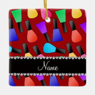 Personalized name red rainbow nail polish square ornament