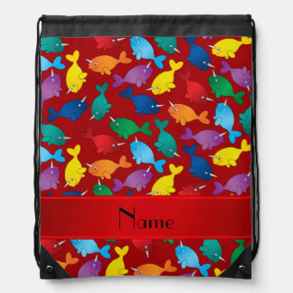 Personalized name red rainbow narwhals drawstring backpack