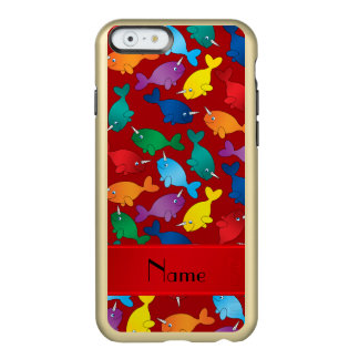 Personalized name red rainbow narwhals incipio feather shine iPhone 6 case