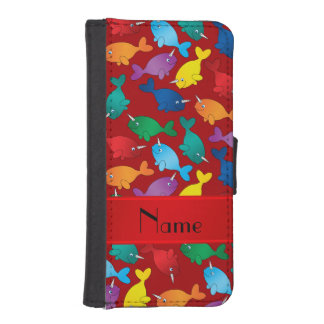 Personalized name red rainbow narwhals iPhone SE/5/5s wallet case