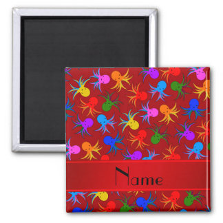 Personalized name red rainbow octopus 2 inch square magnet