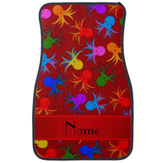 Personalized name red rainbow octopus car mat