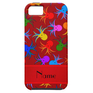 Personalized name red rainbow octopus iPhone SE/5/5s case