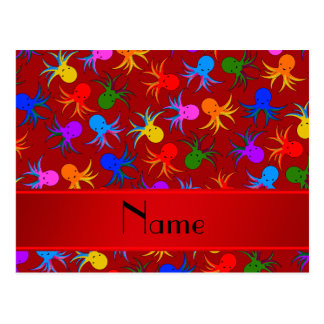 Personalized name red rainbow octopus postcard