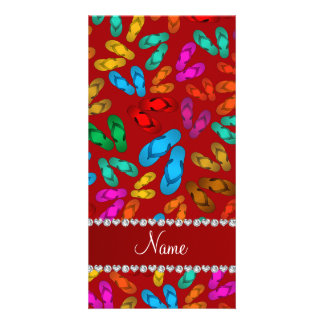 Personalized name red rainbow sandals personalized photo card
