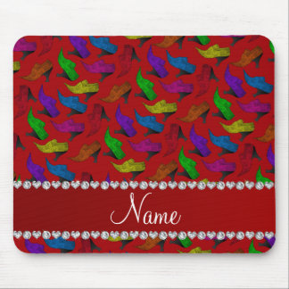Personalized name red rainbow vintage shoes mouse pad
