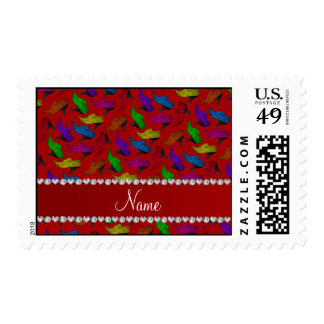 Personalized name red rainbow vintage shoes postage