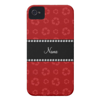 Personalized name red recycling pattern iPhone 4 Case-Mate cases