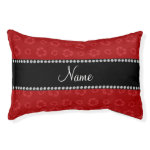Personalized name red recycling pattern small dog bed