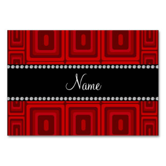 Personalized name red retro colorful squares table cards