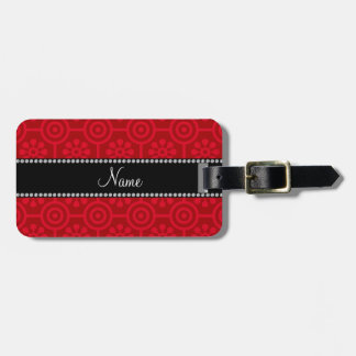 Personalized name red retro flowers bag tag