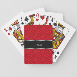 Personalized name red retro flowers card decks