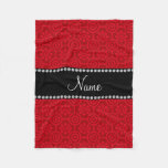Personalized name red retro flowers fleece blanket