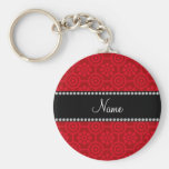 Personalized name red retro flowers keychain