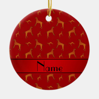 Personalized name red Rhodesian ridgeback dogs Ceramic Ornament