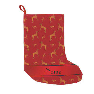 Personalized name red Rhodesian ridgeback dogs Small Christmas Stocking