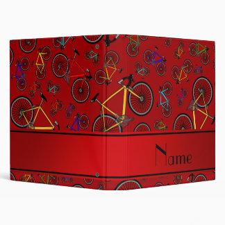 Personalized name red road bikes vinyl binders