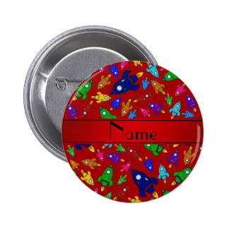 Personalized name red rocket ships buttons