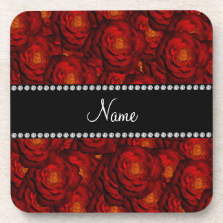 Personalized name red roses coaster