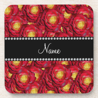 Personalized name red roses beverage coaster