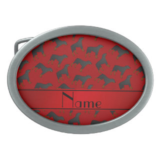 Personalized name red rottweiler dog pattern oval belt buckles