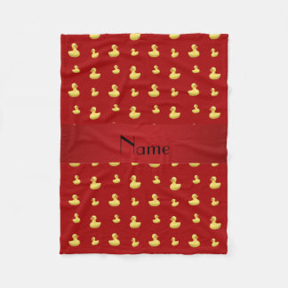 Personalized name red rubber duck pattern fleece blanket