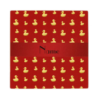 Personalized name red rubber duck pattern maple wood coaster